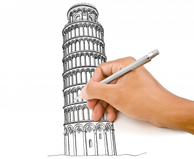draw a sketch of something that has meaning. Did you have your first kiss at the leaning tower of pizza?