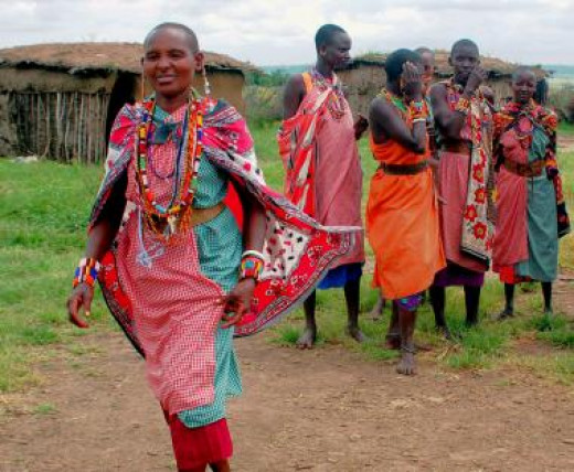 Masai women in traditional gingham clothing. Gingham has been a part of the Masai national costume for  generations.