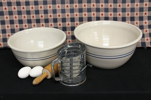 Blue Stripe Stoneware Bowls up to 16""