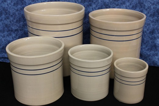 Blue Stripe Stoneware Crocks up to 5 Gal.