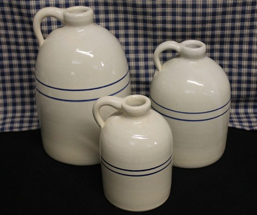 Blue Stripe Whiskey Jugs