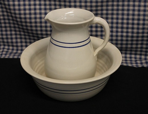 Blue Stripe Pitcher and Bowl Set