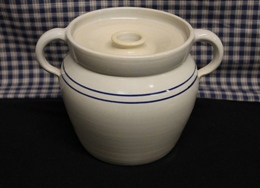 Blue Stripe Stoneware Bean Pot