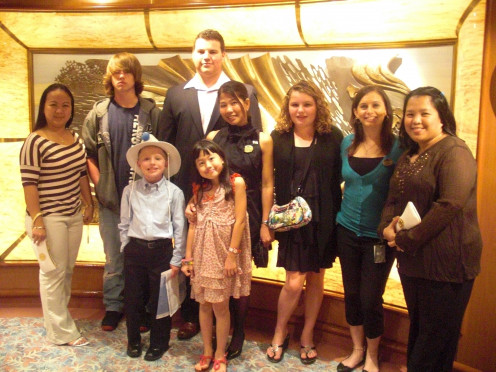 Some teens and kids my son met on our family cruise.