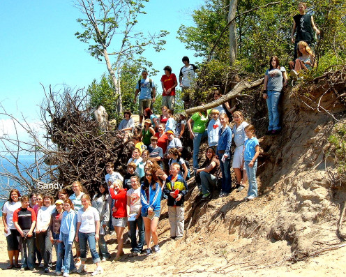 Sandy and her 2006 class on Glacial Geology Field Trip.  The class is on top of a 250 foot high Terminal Glacial Moraine overlooking Lake Michigan.