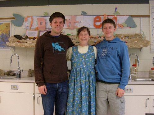 Sandy with our sons Scott (left) and Dan on her final day of teaching before retirement in 2007.
