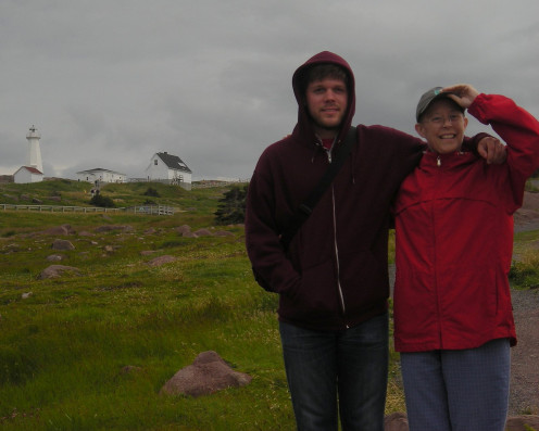 "Sandy and son Scott on family ""Science"" vacation in Newfoundland"