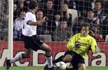 Bosnich using his legs to save.
