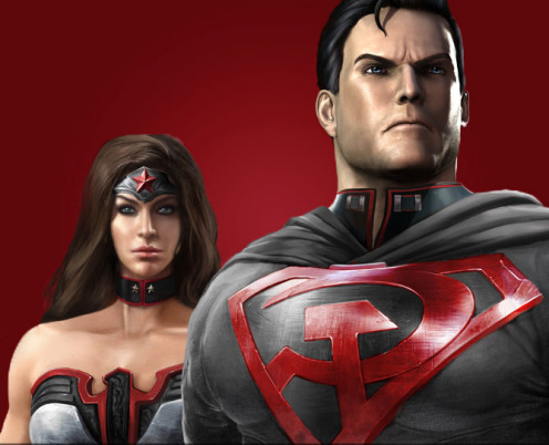Superman in Red Son outfit (with Wonder Woman in Red Son outfit)