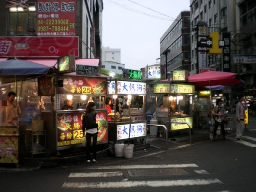 A familiar site in Taiwan, this intersection overflows with food vendors