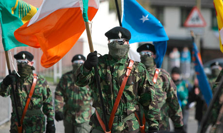 Real IRA members marching in Londonderry. Photograph: Niall Carson/PA