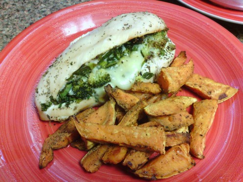 Homemade stuffed chicken breast (broccoli and 1 serving low fat cheese) with baked sweet potato fries.