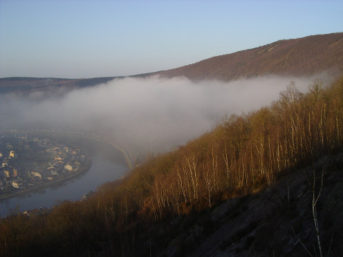 Monthermé: fog at the bend in the Meuse