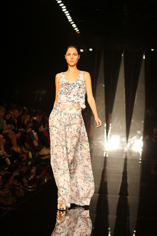 Floral prints and bare midriffs are big for spring 2013. (Lisa Maree Spring/Summer 2013)