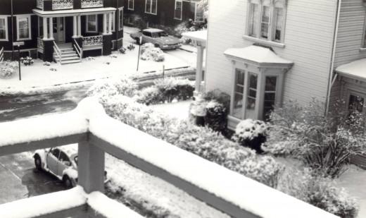 Winter Porch View - Brookline, MA