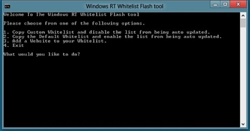 Screenshot of the Windows RT Whitelist Flash Tool that will be used in this article to enable Flash on all websites that the user visits using Internet Explorer 10 in Microsoft Windows RT.