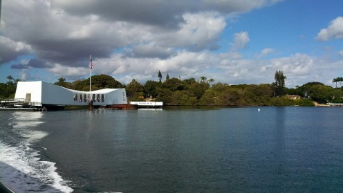 A boat takes you to and from the USS Arizona from the Pearl Harbor Memorial