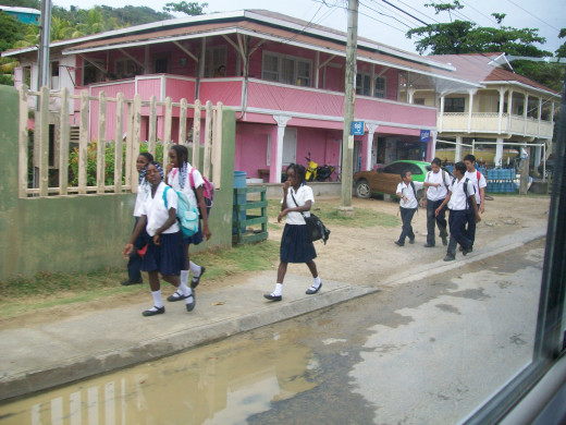 Kids wear uniforms to school here, and have multiple times during the day that they go.