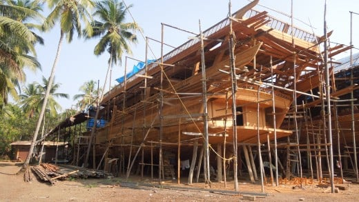 An Uru under construction at a project site in Beypore
