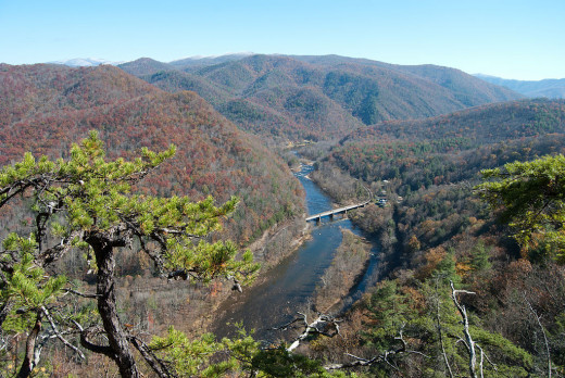 The Nolichucky River seen from the Appalachian Trail