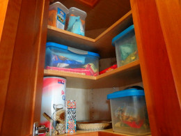 dry goods are stored carefully for freshness and bug prevention...