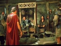 Flavius Aetius in red cloak before Attla and his uncle,Rua.