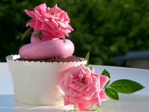 chocolate cupcake with a rosewater meringue buttercream . . .delicious and creative use of rosewater.