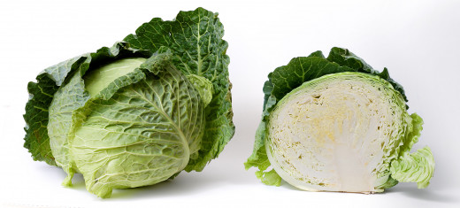 Fully formed cabbage head, and what it looks like as cross section