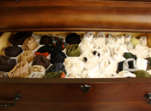Organize your socks easily with a drawer organizer.