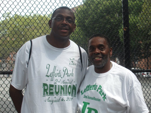 Kelvin back in the community at his childhood playground in Lefferts Park.