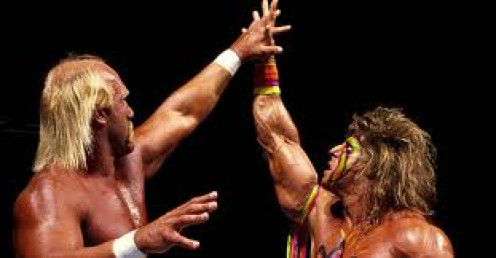 Hulk Hogan and the Ultimate Warrior were evenly matched competitors inside the squared circle.