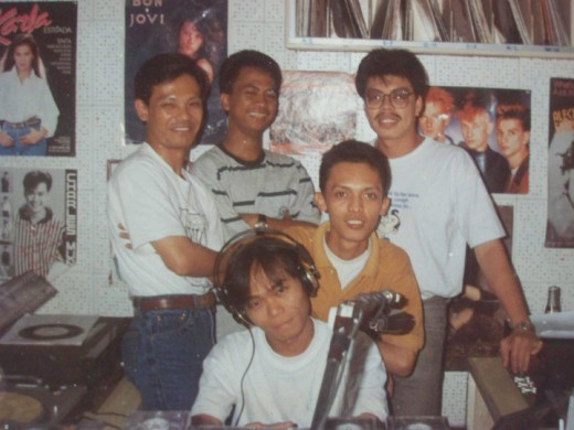 Travel Man (in orange shirt) during his radio days, late 80s (Photo Source: Ireno Alcala)