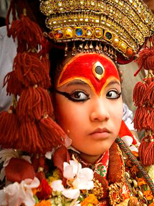 Living Goddess Kumari in her official appearance.