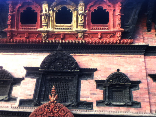 Windows in the house of Goddess Kumari