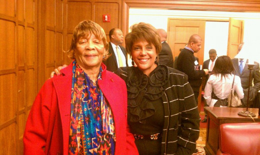 Linda Johnson rice pictured with this author's grandma, Emma Lewis at the University of Chicago Booth Gleacher Center as both this author and Mrs. Rice were honored during Black History Month for entrepreneurship.