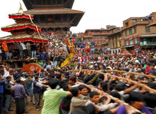 Chariot procession in Bhaktapur Durbar Square