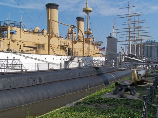 USS Olympia (larger ship) and USS Becuna (submarine) at Penn's Landing, Philadelphia, PA
