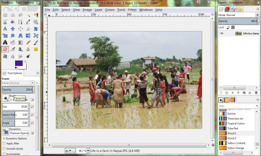 Screenshot of GIMP, one of the best free photo editing program