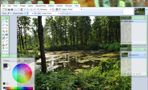 Screenshot of Paint.Net. Paint.NET was developed as free replacement of Microsoft paint, however, now it has become widely used free image manipulation program