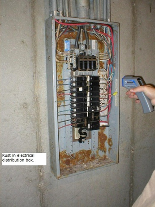 Any rust in the panel is a sign of water leakage.  It is unsafe and a code violation.