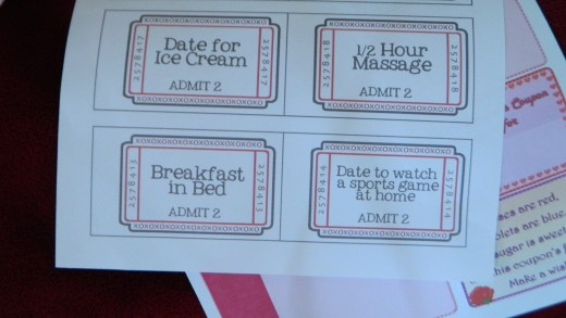 These are some coupons adults can give to their significant other.