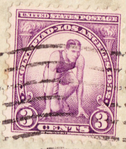 Yes, 3 cents was first-class postage in 1932!  This stamp comemmorates the 1932 Olympics. Postcards were a penny.