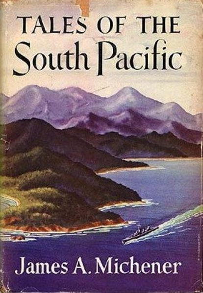 "This is a low resolution image of the cover for James A. Michener's collection of short stories, ""Tales of the South Pacific,"" covered by the fair use doctrine under US copyright law."