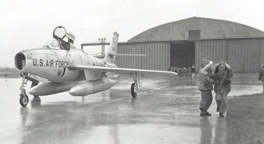 RF84 Hangar No. 429, Sembach Air Base. Guess what... the rain was pouring down as it usually did at Sembach