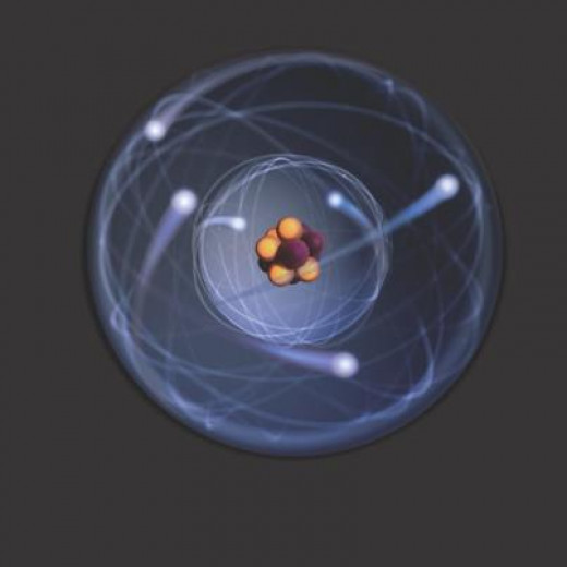 An atom showing protons, neutrons and electrons.