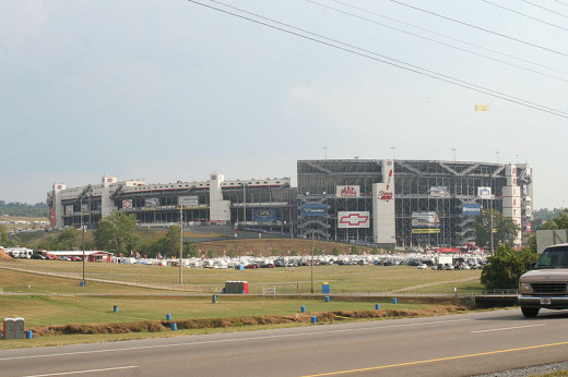 The view outside Bristol Motor Speedway near Bristol, Tennessee.