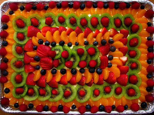 A large fruit pizza.