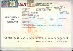 ...with visas for Russia, Mongolia and China (Note: This has visa scan has been edited)