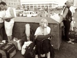Sheila guarding our gear at Yaroslavsky Station.