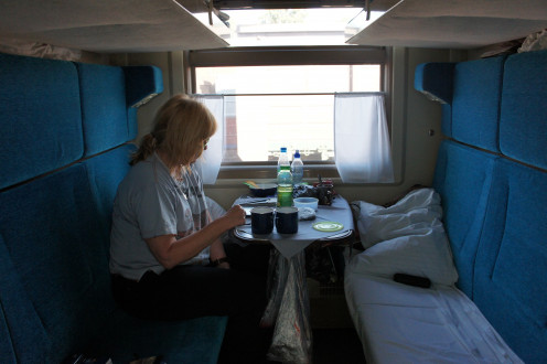 Our compartment - Sheila had the bottom bunk, I had the one above. We shared the cabin with various Russia inter-city commuters.